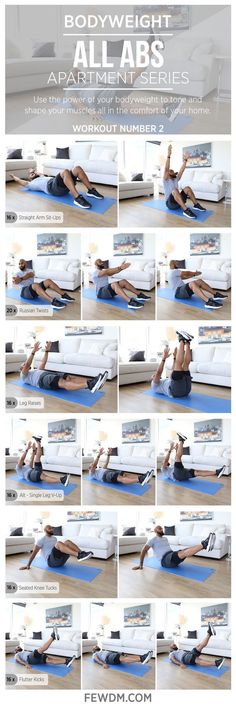 Bodyweight exercises are perfect and easy to do. No equipment necessary! Workout #2 in the Apartment Series, All Abs. www.FEWDM.com Yoga Fitness - http://amzn.to/2hmQneS