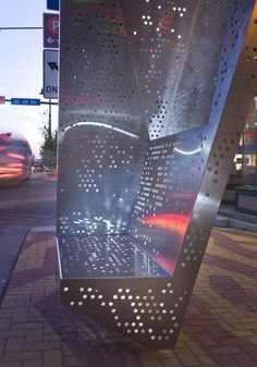 The project consists of two bus shelters designed for the Gordon Square Arts District within Cleveland's Detroit Shoreway neighborhood. The brief called for . Urban Furniture, Street Furniture, Bus Stop Design, Canopy Shelter, Bus Shelters, Shelter Design, Perforated Metal, Canopy Design, Square Art
