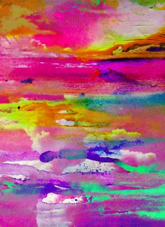 Watercolor neon abstract