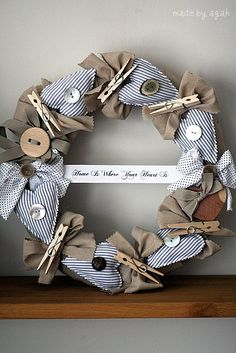 Laundry Room Wreath - cute;  I would like change the colors to make a Valentine's Day wreath as well...