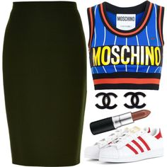 . by rocky567 on Polyvore featuring moda, Moschino, MaxMara, adidas Originals and M.A.C