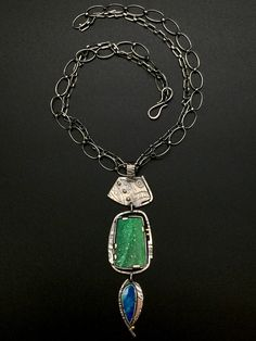 Variscite Druzzy and Opal Pendant
