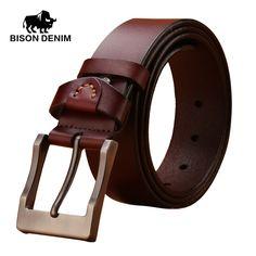 BISON DENIM 100% stylish belts men coffee / brown Belt Cowboy Genuine Leather Smooth Buckle wedding belts for men N71022