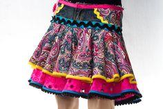 Denim Cotton Mini-skirt - Urban Flamenco Style - Made in Spain by Flamenkamelia - Bright Colourful Design - Pink Paisley Frills Ruffles on Etsy, 3285,71Kč