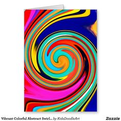 Vibrant Colorful Abstract Swirl of Melted Crayons Greeting Card