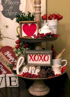 Valentine& Tiered Tray Decorations Round Up – Lizzy & E.- Valentine& Tiered Tray Decorations Round Up – Lizzy & Erin Valentine& Tiered Tray Decorations Round Up – Lizzy & Erin - Valentine's Home Decoration, Diy Valentine's Day Decorations, Valentines Day Decorations, Valentine Day Crafts, Decor Ideas, Valentine Table Decor, Valentines Games, Valentine Stuff, Decorating Ideas