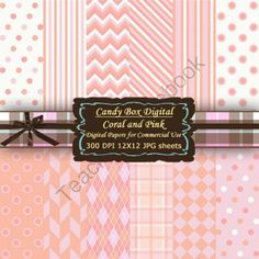 Coral and Pink Digital Background Papers from Candy Box Digital on TeachersNotebook.com -  (12 pages)  - Coral and Pink, a really hot combination.