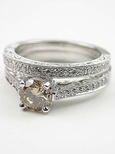 Champagne Diamond Filigree Engagement Ring    Perfection