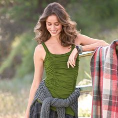 """EVERYDAY RUCHED TANK--An indispensable layering piece, ruched front and back to flatter every body. Perfect under sweaters and on its own. Shelf bra. Cotton/spandex. Machine wash. Imported. Sizes XS (2), S (4 to 6), M (8 to 10), L (12 to 14), XL (16). Approx. 24""""L."""