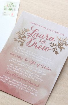 Blush Wedding Stationery Suite Dusty Pink