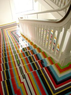 Washi tape stair risers: 20 DIY Wallpapered Stair Risers Ideas To Give Stairs Some Flair Stair Steps, Stair Risers, Painted Stairs, Painted Floors, Diy Tapete, Wallpaper Stairs, Escalier Design, Interior And Exterior, Interior Design