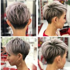 81 stunning short pixie hairstyles and haircuts page 70 81 umwerfende Kurzhaarfrisuren und Frisuren Short Hairstyles For Thick Hair, Short Grey Hair, Short Blonde, Short Hair Cuts For Women, Short Hair Styles, Short Sassy Hair, Bob Styles, Black Hair, Sassy Haircuts