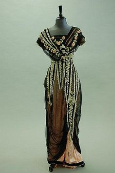 Evening gown of black chiffon over rose silk, circa 1912