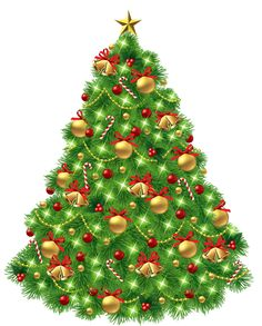 Transparent Christmas Tree with Ornaments and Gold Bells PNG Picture