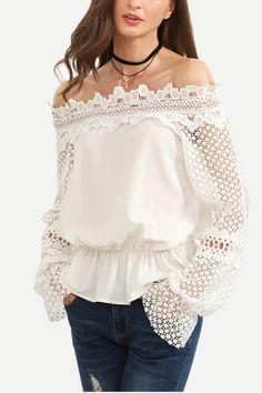 White+Lace+Decor+Off+Shoulder+Ruffle+Trim+Blouse+#White+#Blouse+#maykool
