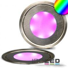 "LED Bodenstrahler ""SLIM"", rund, IP54, edelstahl, RGB / LED24-LED Shop"