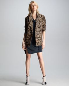 Leopard-Print Jacket & Twisted Placket Dress   by 3.1 Phillip Lim at Neiman Marcus.