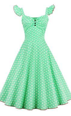 Polka Dot Buttoned Pin Up Dress
