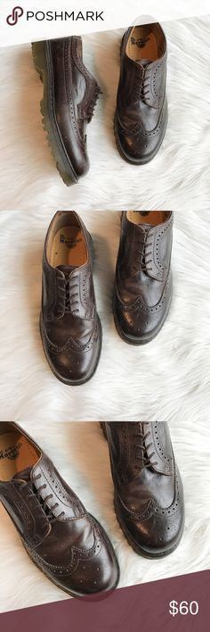 Doc Martens 14870 Brogue Oxfords Brown leather 5 Eyelet brogue Oxford by Doc Martens in excellent used condition. Small scuffs to sides and toes as shown in photos, not too noticeable. Some normal wear and creasing. Size 10 US. Air cushion sole, grease, oil and fat-resistant. Style #14870 Dr. Martens Shoes Oxfords & Derbys