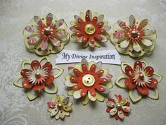 Fall Paper Embellishments and Paper Flowers for Scrapbooking Cards Mini Albums and Papercrafts