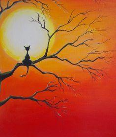Original Black Cat Painting Moon Art
