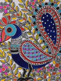 Peacock Madhubani Painting x Madhubani Paintings Peacock, Kalamkari Painting, Peacock Painting, Madhubani Art, Peacock Art, Indian Art Paintings, Gond Painting, Mural Painting, Art And Illustration