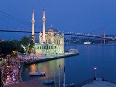 Bosphoros River Bridge and Ortakoy Camii Mosque, Ortakoy District, Istanbul, Turkey Photographic Print by Gavin Hellier at Art.com