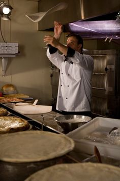 Chef Anthony Russo hand-crafts his own homemade pizza crusts. Pizzeria Trattoria, Eat Pizza, Family Kitchen, New York Style, Italian Cooking, Hand Crafts, Bon Appetit, Crusts, The Neighbourhood