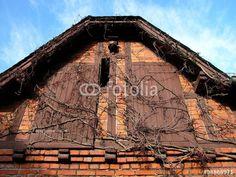 Fassade eines alten Schuppen mit braunen Holztüren in Wißmar bei Gießen in Mittelhessen