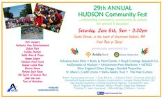 Hudson Community Festival is coming up on June 6th, in Hudson MA. Join us for a great celebration of community, commerce and culture. 100+ street vendors, crafts, games, splash park, delicious food, 2 performance stages and so much more!