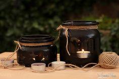 Świeczniki ze słoików i farby tablicowej. Candlesticks with jars and paints an array. www.marciatime.pl