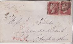 1856 QV COVER WITH PAIR OF 1d RED STAMPS MAILED TO EDINBURGH SCOTLAND SEE BACK   eBay