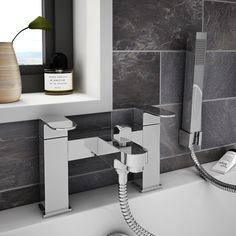 Square bathroom tap designs are perfect if you want to replace dated items and create a much more modern finish. Bath Taps, Bathroom Taps, Bathroom Interior, Bathroom Ideas, Bath Shower Mixer, Shower Kits, Stainless Steel Hose, Nuts And Washers, Modern Baths