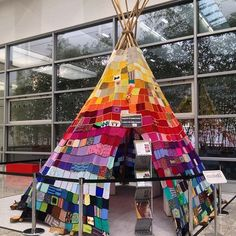 Rainbow teepee with granny squares. How cool is this?