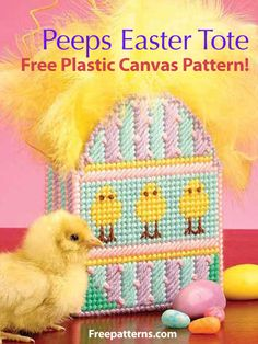 Free Peeps Easter Tote Plastic Canvas Pattern Download from Freepatterns.com -- Give your Easter treats in this whimsical Peeps Tote. Make a great Easter gift bag using 7-mesh canvas and feathers.