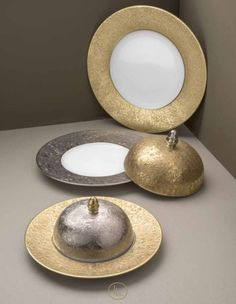 "Moonscape Platinum or Gold ""Foil"" looking tableware- rich and luxurious!"
