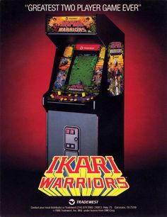 """A promotional poster for the arcade game """"Ikari Warriors,"""" a run & gun shooter released by Tradwest / SNK in 1986 Vintage Video Games, Classic Video Games, Retro Video Games, Video Game Art, Retro Arcade Games, Mini Arcade, History Of Video Games, Computer Video Games, Arcade Game Machines"""