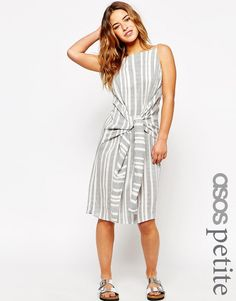 Image 1 ofASOS PETITE Knot Front Stripe Dress