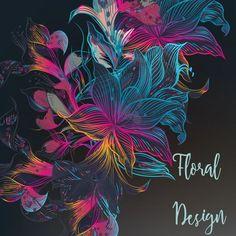Многоцветный цветочный дизайн Бесплатные векторы