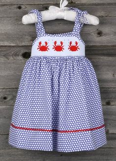 Smocked Crab Sun Dress from Smocked Auctions