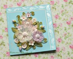 Stylized flowers quilling card - QuillyVicky - Quilled card - Blue - Turquoise