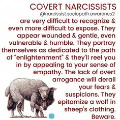 """Covert narcissists are often described initially as """"sweet, kind & loving"""" but theirs is the worst kind of betrayal. They will usually pretend to be Christians but they are wolves in sheep's clothing! Narcissistic People, Narcissistic Mother, Narcissistic Behavior, Narcissistic Abuse Recovery, Narcissistic Sociopath, Narcissistic Personality Disorder, Bipolar Disorder, Angst Quotes, Types Of Narcissists"""