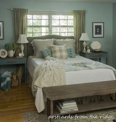 Great tips for adding farmhouse charm to bedrooms in any style home! Postcards from the Ridge