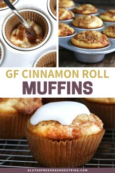 Call it a cupcake or call it a muffin. these are pure cinnamon goodness! They're easy to make in a cupcake tin, and perfect served warm for breakfast, brunch or dessert. Be sure to make the simple vanilla sugar glaze, and drizzle that all over the tops! Dairy Free Breakfasts, Gluten Free Recipes For Breakfast, Wheat Free Recipes, Dairy Free Recipes, Brunch Recipes, Gluten Free Cupcakes, Gluten Free Sweets, Gluten Free Baking, Egg Free Desserts