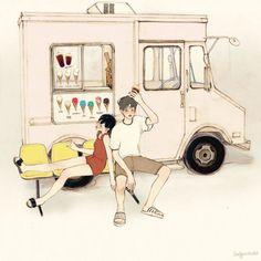 오후 두 시 집 근처 분홍색 트럭 한 대 높게 떠 있는 태양의 열기 너와 난 아스팔트 위 녹아내릴 플라스틱