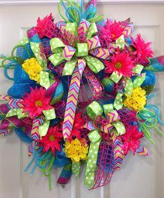 Spring /Summer Mesh Wreath on Etsy, $85.00
