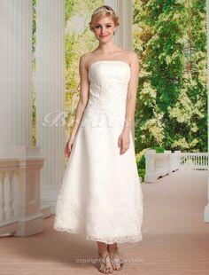 A-line Organza Tea-length Strapless Wedding Dress - $129.99