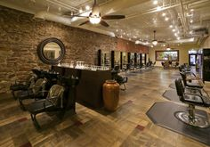 view of our Hair Salon and Shampoo bowls from our Spa Desk. | Yelp