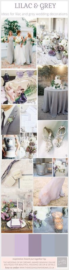 lilac and grey wedding decorations and ideas