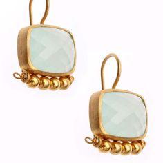 Chalcedony & 24K Gold Vermeil Earrings from Wanderlust Jewels LLC for $295.00